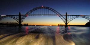 yaquina bay bridge at night